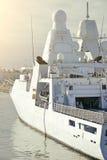 Moored white naval ship. Moored white naval ship with radar royalty free stock photos