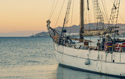 Moored yacht in central marina of Eilat, Israel Stock Photos