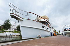 Moored yacht in the Old Port of Rotterdam, Holland Stock Images