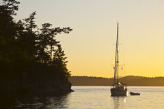 Moored yacht in San Juan islands Stock Images