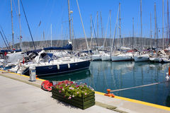 Moored yachts Royalty Free Stock Images