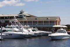 Moored Yachts. At the basin in Pensacola, Florida royalty free stock image