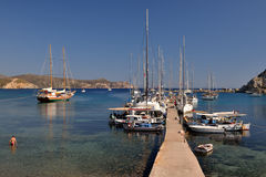 Moored yachts in the ancient Knidos port, Datca peninsula, Mugla, Turkey. Royalty Free Stock Photos
