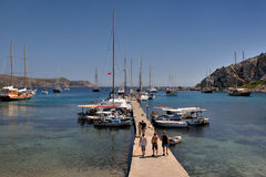 Moored yachts in the ancient Knidos port, Datca peninsula, Mugla, Turkey. Stock Images