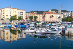 Moored yachts and boats in old port of Ajaccio Stock Photography
