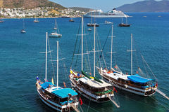 Moored yachts, Bodrum Stock Images