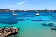 Moored Yachts in Cala Fornells, Majorca stock images