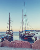 Moored yachts in central marina of Eilat, Israel Stock Photo