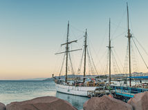 Moored yachts in central marina of Eilat, Israel Stock Image