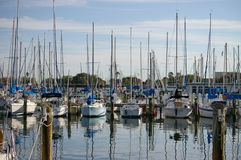 Moored Yachts In Harbour Stock Photo