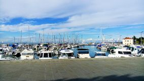 Moored Yachts In Harbour. Sunny day. royalty free stock photos