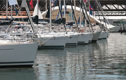 Moored Yachts in a Marina Stock Images