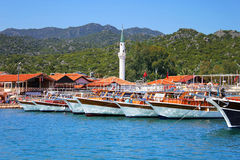 Moored yachts, near Kekova island Stock Images