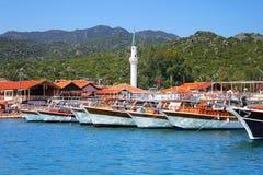 Moored yachts, near Kekova island stock images