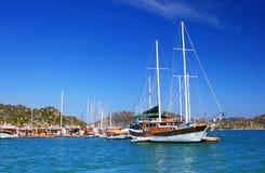 Moored yachts, near Kekova island Royalty Free Stock Photography
