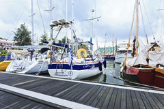 Moored yachts in the Old Port of Rotterdam, Holland Royalty Free Stock Images