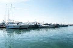 Moored yachts Stock Image