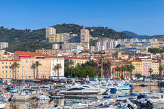 Moored yachts and pleasure boats in old port of Ajaccio Royalty Free Stock Photo