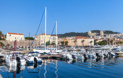 Moored yachts and pleasure boats in port Royalty Free Stock Image