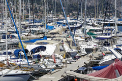 Moored yachts in port at Saint Jean, Cap Ferrat Royalty Free Stock Photo