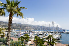 Moored yachts in port at Saint Jean Cap Ferrat Stock Images