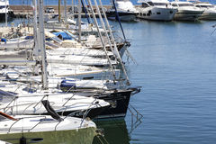 Moored yachts, port at Saint Jean Cap Ferrat Royalty Free Stock Image