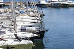 Moored yachts, port at Saint Jean Cap Ferrat Royalty Free Stock Image