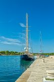 Moored yachts in Supetar Royalty Free Stock Image