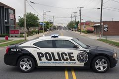MOORESVILLE, NC-May 19, 2018: Town Police Vehicle Black and White Car stock image