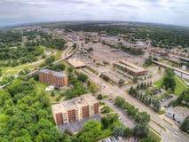 Moorhead jest miasteczkiem na Minnestoa granicie z Fargo na Czerwonej rzece zdjęcia royalty free