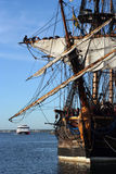 On a mooring. Ancient wooden ship in port Tallinn Royalty Free Stock Photos