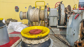 Mooring anchor winch. In shipyard Mooring anchor winch on ship Royalty Free Stock Images