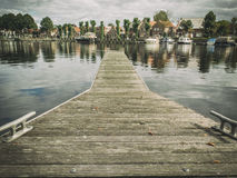 Mooring. Anchorage quay for boats in Holland Royalty Free Stock Images