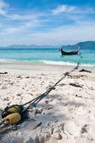 Mooring boat on the beach Stock Image