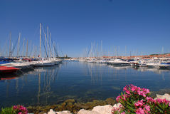 Mooring boats. In the town of Vodice, Croatia Royalty Free Stock Image