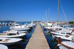 Mooring boats. Croatia. Harbour. Beautiful view Royalty Free Stock Photo