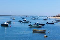 Mooring of boats near the shore Royalty Free Stock Photo