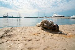 Mooring for boats in the port of Pula stock photos
