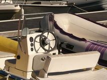 Mooring and boats. Special boats and speed boats moored in a harbor Royalty Free Stock Photo