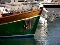 Mooring and boats. Special boats and speed boats moored in a harbor Stock Photography
