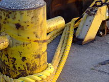 Mooring Bollard & Hawser stock photography