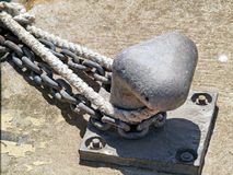 Mooring bollard and naval rope Stock Image