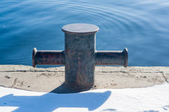 The mooring bollard at the pier Stock Photos
