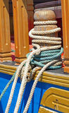 Mooring bollard with ropes Stock Image
