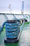 Mooring bollard. Mooring ropes and mooring bollard on a cargo vessel Royalty Free Stock Images