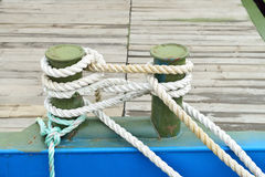 Mooring bollards with heavy duty opes Stock Photography