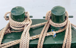 Mooring bollards at an old ship Royalty Free Stock Photography