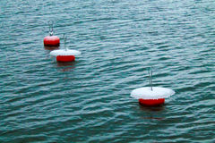 Mooring buoys with ice. Three mooring buoys with ice and snow on top Stock Photo