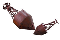 Mooring Buoys. Old rusty mooring buoys isolated on white background royalty free stock photos