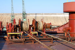 Mooring capstan. Wire rope winch with  a hydraulic mechanism used  on the tanker Stock Photo